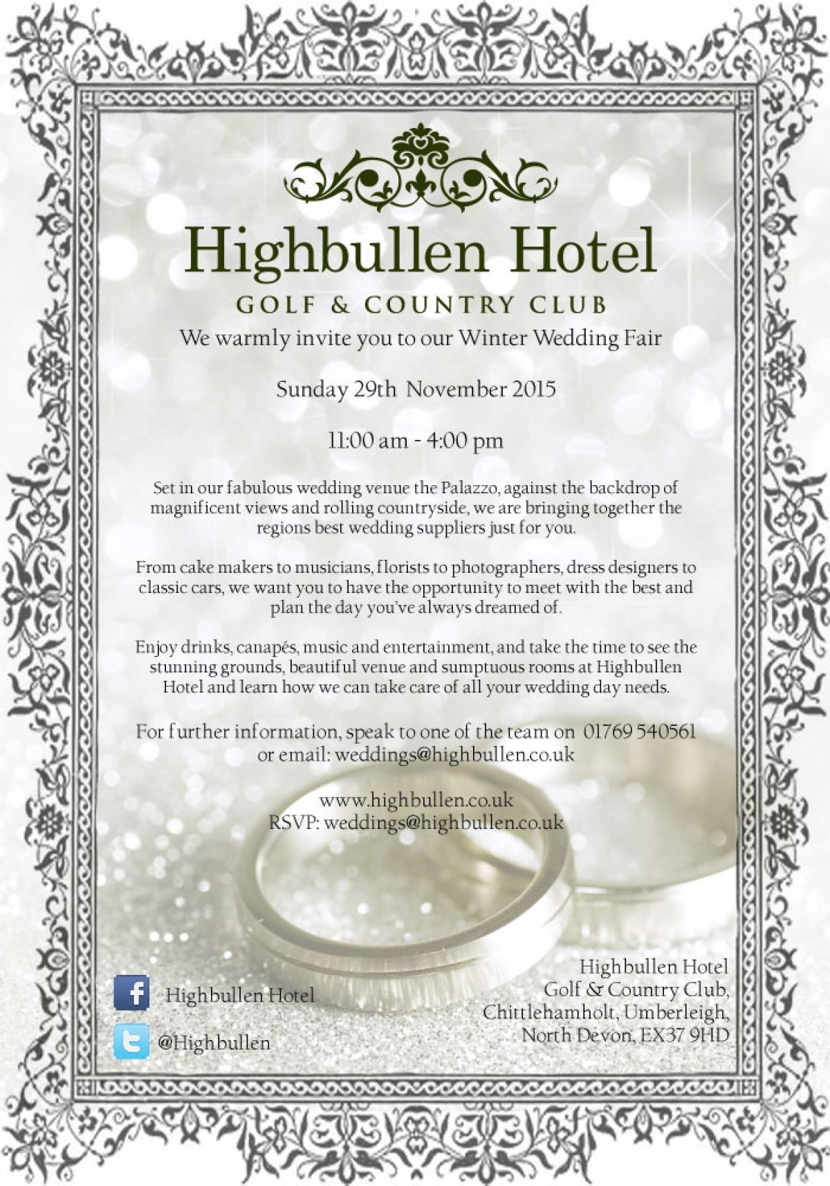 Highbullen Hotel Winter Wedding Fair