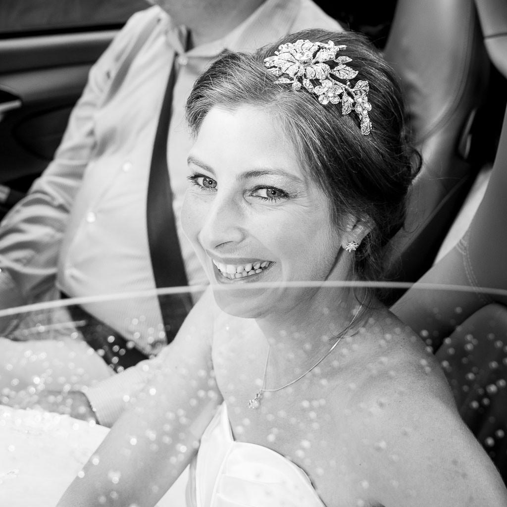 Beaded ruched black chiffon evening cream wedding dress with split