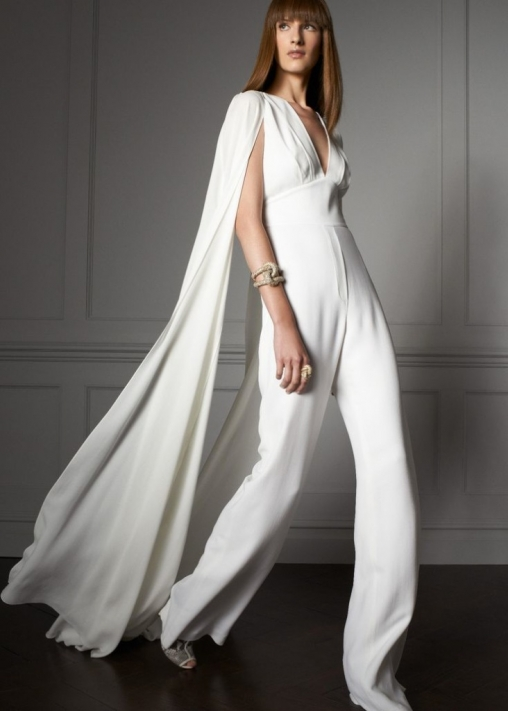 Alternative wedding fashion wedding day jumpsuit with its flattering halter neck and wide legged trousers and for the fashion forward brides well i adore the minimalist junglespirit Gallery